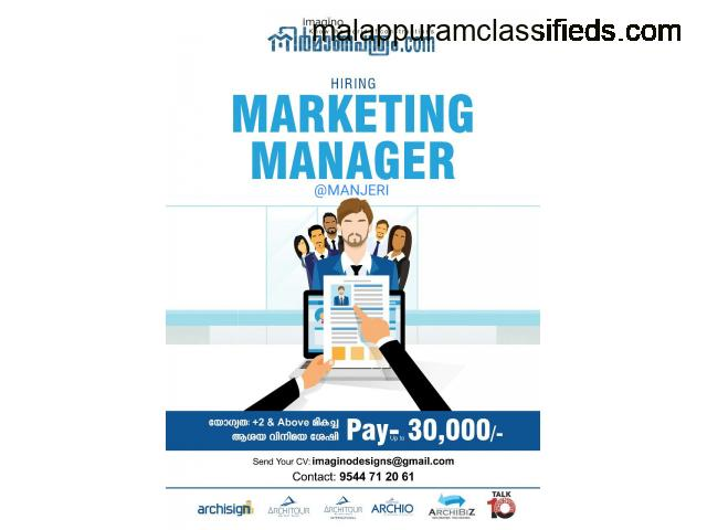 Marketing Manager Required in Manjeri