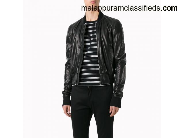 Men Cropped Style Leather Bomber Jacket.