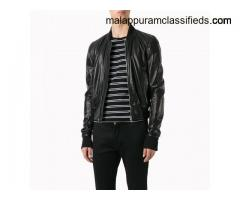 Men Cropped Style Leather Bomber Jacket.