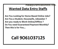 Wanted Data Entry Staffs (All Kerala) Call 9O61O37125, 9645I64653, 889I263975