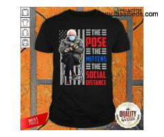 Official Bernie Sanders The Pose The Mittens The Social Distance Shirt